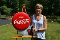 VINTAGE 40's COCA COLA DOUBLE BUTTON FLANGE SIGN w/ RARE METAL FLANGE DEAD MINT!