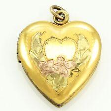 Engraved Floral Heart Locket 3.6 gram Vintage Rose Yellow 10K Gf Sterling Silver