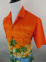 Winnie Fashion Men's Hawaiian Short Sleeve Shirt Orange sz Large Beach Flowers