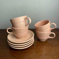 Fiestaware Vintage Apricot  Homer Laughlin Tea Cup Saucer Lot of 4 Fiesta