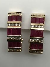 14K Yellow Gold Baguette Cut Ruby and Diamond Channel Set Omega Clip Earrings