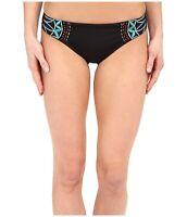 Nanette Lepore Charmer Solid Hipster Bikini Bottom Black Swimwear Size S