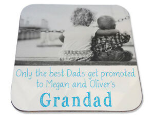 Personalised Printed Coaster Dads promoted to Grandad Birthday photo gift