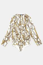 Zara AW18 Chain Print Bodysuit Blouse 5580/523 Size S NWT