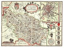 A large print of 17th. Century map of West Riding Yorkshire, app.14 x11 inches.