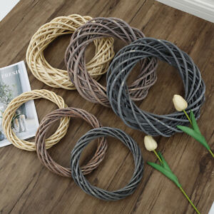 Brown Garland Wicker Rattan Ring for Christmas Home DIY Floral Wedding Decor