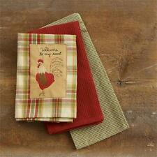 Primitive Country Welcome To My Roost Towel Set/3 Cotton Farmhouse Kitchen