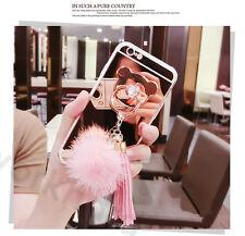 Diamond Ring TPU Mirror Metal Tassels Fur Ball Case Cover For iPhone XS Max 8 7