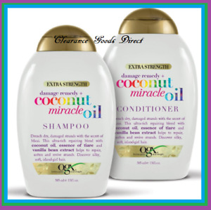 OGX Coconut Miracle Oil Shampoo And Conditioner Damage Remedy 385ml x2