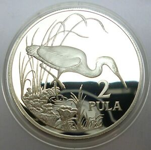 Botswana 2 Pula 1986 Silver Coin Proof World Wildlife Fund - Slaty Egret (T104)