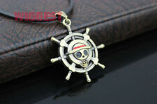 One Piece Luffy Straw Hat Skull Pirate Merry Symbol Rudder Pendant Necklace
