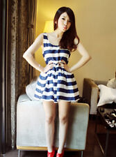 Nautical navy stripe dress back bowknot free high waist korean country snidel