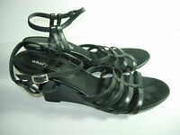 WOMENS BLACK LEATHER AEROSOLES STRAPPY SANDALS WEDGE HEELS SHOES SIZE 9.5 M