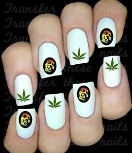 BOB MARLEY REGGAE   sticker autocollant ongles manucure nail art water decal