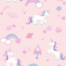 Over the Rainbow Unicorns, Rockets and Rainbows Wallpaper Pink 90961