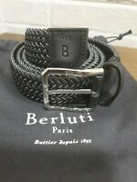 Authentic New Berluti Versatile Nero Grigio Fabric And Leather 32 MM Belt,105/42