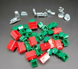Monopoly Replacement Parts - 32 Houses, 11 Hotels, 8 Tokens Game Pieces