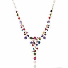 Fashion Crystal Women Bib Collar Choker Chain Pendant Chunky Statement Necklace