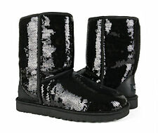 UGG Australia Classic Short Sparkles Black Sequin Boots Womens 9 *NEW IN BOX*