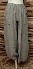 LAGENLOOK LINEN AMAZING QUIRKY HAREM OVERSIZE TROUSERS/PANTS*BEIGE*Size L-XL-XXL