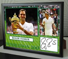 "Roger Federer Wimbledon 2017 Framed Canvas Tribute Print Signed ""Great Gift"""