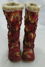 Sam Edelman Size 6 Fur-Lined Leather Lace Up Winter Boots bordeaux red