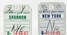 2 PAN AMERICAN AIRWAYS BAGGAGE TAG LABEL STICKER NEW YORK SHANNON 1954