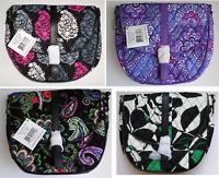 NEW Vera Bradley Slim Saddle Crossbody Shoulder Bag Lilac Black Pink Purple NWT