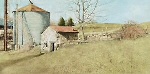 "Sebastian Upson - ""Springhouse"" Landscape Lithograph/ Andrew Wyeth Inspired"