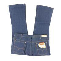 Vtg 70s Levis 646 0217 Orange Tab Bell Bottom Jeans Denim Talon 42x32 (F)