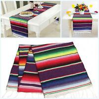 2/5/10pcs Mexican Serape Table Runner Festival Party Decor Fringe Cotton Cover