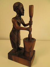 Africal Folk Art Wheat Grinding Woman Heavy Wood Hand Carved Lovely