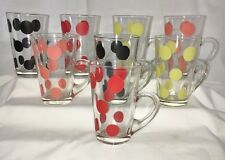 AWESOME* 8 Fire King* PATIO MUGS /POLKA DOTS* RED* CORAL* YELLOW* BLACK*