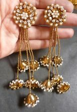 Antique Gold Plated Cz Stone Bridal Indian Earring 4 Lines Step Chain Jhumka