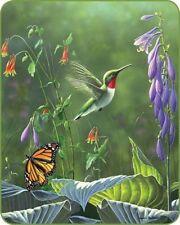 79x96 Queen Hummingbird Butterfly Flowers Garden Mink Blanket Super Plush Fleece