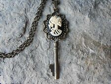 SKELETON WOMAN, SKULL CAMEO SKELETON KEY NECKLACE - VICTORIAN STEAMPUNK, GOTH