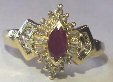 Beautiful Women's 14kt Yellow Gold Ruby & Diamond Ring