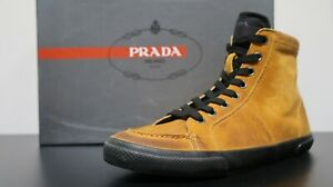 Prada High top Sneakers 4T2148 Scamosciato Whisky Men's size 9 Brand new with Or