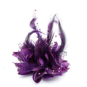 2Pcs Flower Feather Corsage Hair Clips Fascinator Bridal Headband Wrist flowers