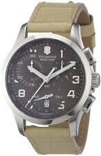 Victorinox Swiss Army Chrono Brown Dial Beige Leather Quartz Ladies Watch 241320