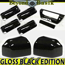 15-17 Ford F150 Crew Cab GLOSS BLACK Door Handle COVERS N+Bowls+Mirror+TailgateA