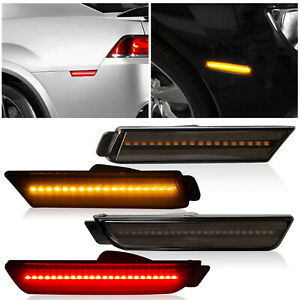 For 2010-2015 Chevy Camaro LED Bumper Side Smoked Marker Light Lamps Set 4PCS