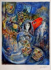 """Chagall """"Bella"""" Limited Edition Abstract Litho 32x24 Facsimile Signed/Pencil #"""