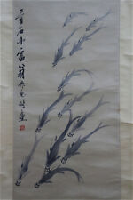 "Excellent Chinese 100% Hand Scroll & Painting ""Fish"" By Qi baishi 齐白石 WED3689"