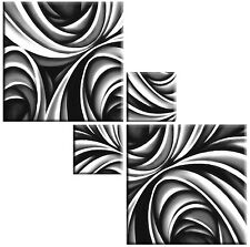 LARGE GREY WHITE BLACK ABSTRACT SQUARE CANVAS PICTURES 4 PIECE WALL ART 104CM