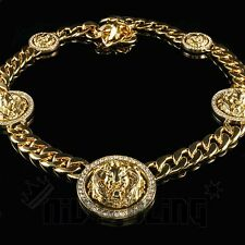 14k Gold 15mm Five Head Lion ICED OUT Cuban Link Chain Hip Hop Bling Necklace