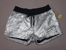 TRUE RELIGION WOMENS SEQUIN RUNNER SHORTS MIDNIGHT SILVER SHORTS SIZE LARGE NEW