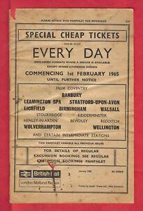 BR Staff Pamphlet ~ British Rail (LM Region) - Special Cheap Day Tickets - 1965