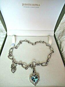 "Judith Ripka SS Blue Topaz DMQ Heart Pendant & Heart Charm w 18"" Necklace JR Bx"