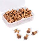 60 Pcs Wood Push Pins Walnut Standard Wooden Thumb Tacks Decorative fo